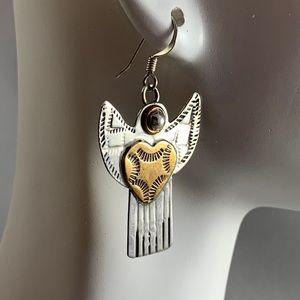 Jewelry - Sterling & Brass Angel Earrings